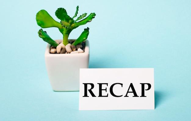 Su una superficie azzurra - una pianta in vaso e una carta bianca con la scritta recap