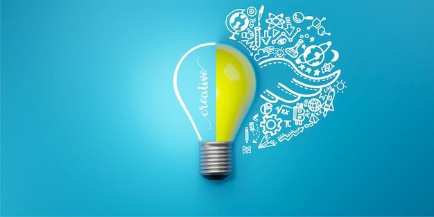 Icone della lampadina e scarabocchi. idea creativa e concetto di innovazione, illustrazione 3d