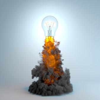 Lampadina che vola con fumo e fiamme, concetto di innovazione e creatività. rendering 3d.
