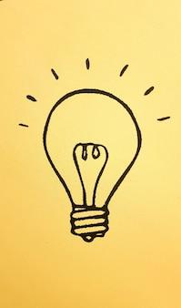 Icona della lampadina che rappresenta idee, creatività e innovazione in uno sfondo colorato di banner giallo.