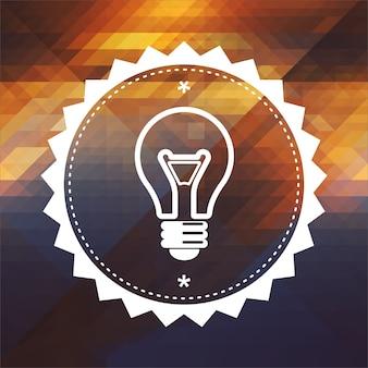 Icona della lampadina. design dell'etichetta retrò. sfondo hipster fatto di triangoli, effetto di flusso di colore.