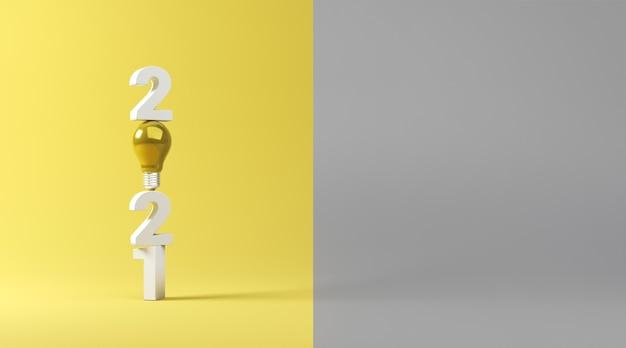 Idea lampadina con 2021 su sfondo giallo e grigio.