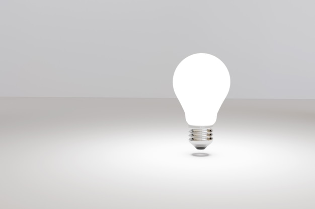 Lampadina su isolati su sfondo bianco. idea e concetto di ispirazione. illustrazione 3d.