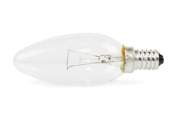 Lampadina isolata su immagine foto bianca e realistica