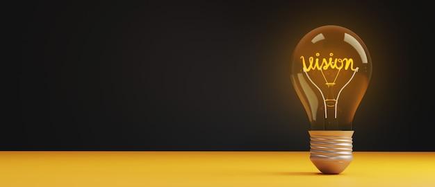 Concetto di visione della lampadina con lo spazio della copia. Foto Premium
