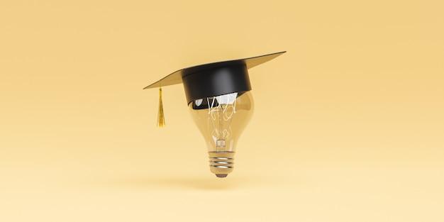 Lampadina con cappello di laurea