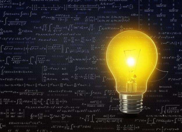 Lampadina con testo idea sul concetto di business formula matematica 3d rendering