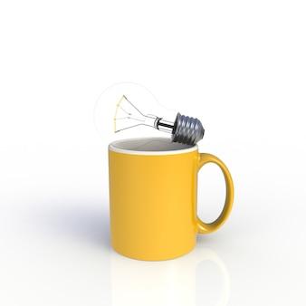 Lampadina con la tazza di caffè gialla su bianco