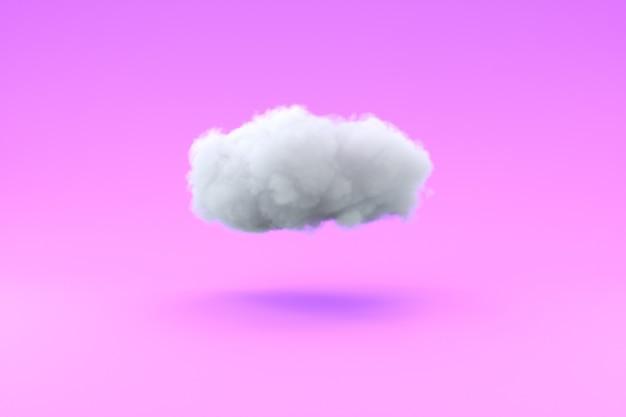 Nuvola leggera in aria su sfondo rosa pallido illustrazione 3d
