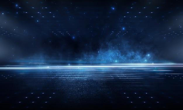 Effetto luce, sfondo sfocato. asfalto bagnato, vista notturna della città, riflessi al neon