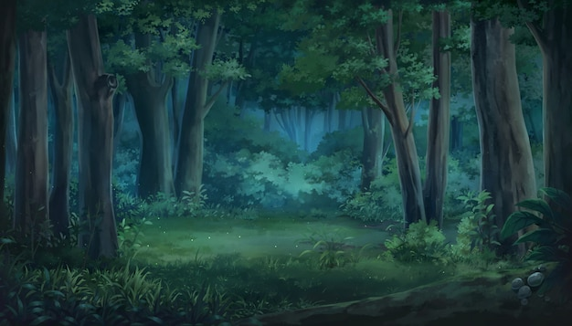 Illustrazione di luce e foresta