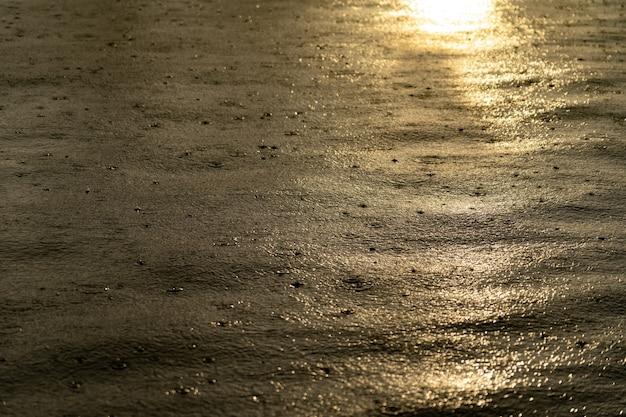 Gocce di pioggia leggera sulla superficie dell'acqua durante il tramonto.