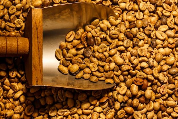 Chicchi di caffè tostati leggeri con cucchiaio di metallo pieno di chicchi di caffè