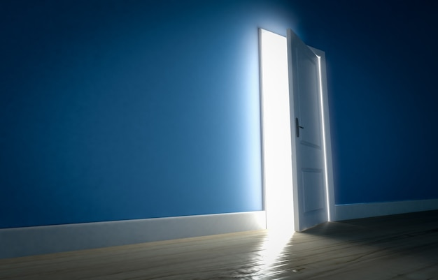 Luce che risplende attraverso la porta aperta in una stanza buia con pareti blu e pavimento in legno. rendering 3d