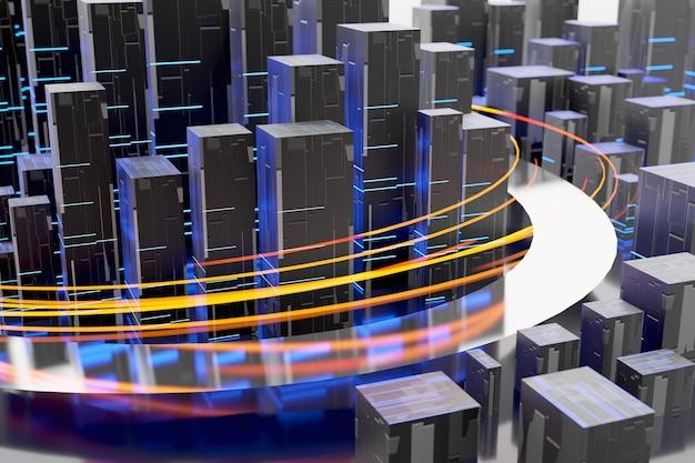 Strisce di luce flusso di dati internet rendering 3d con connessione ad alta velocità
