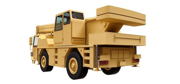 Gru mobile giallo chiaro. illustrazione tridimensionale. rendering 3d.