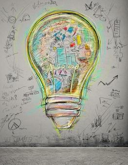 Lampadina disegnata e colorata con schizzi di affari