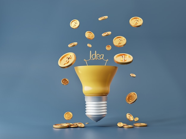 Lampadina idee e monete soldi per la ricchezza e il concetto di fare soldi.