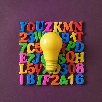 Lampadina e lettere come idea per sostenere quegli zigomi. concetto minimo di istruzione scolastica.