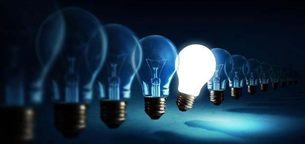 Lampadine su sfondo blu, concetto di idea