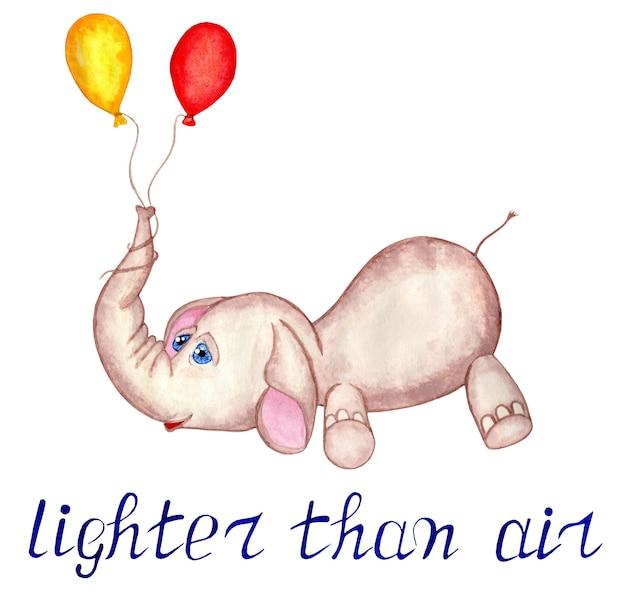Più leggero dell'aria testo elefante con palloncini illustrazione per bambini per cartoline isolate