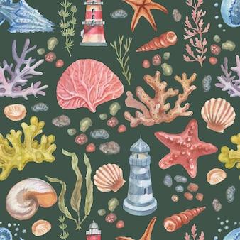Faro meduse stelle marine coralli conchiglie modello senza cuciture spiaggia acquerello