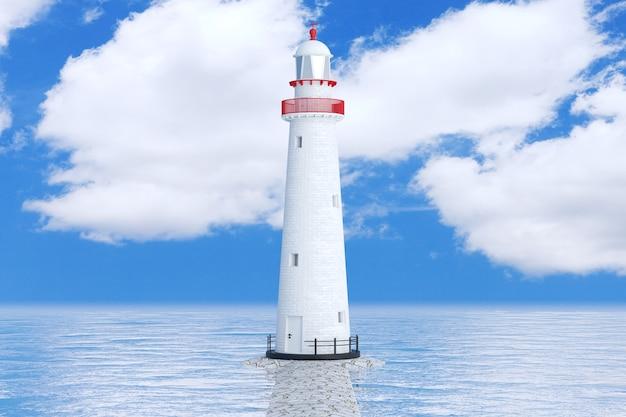 Faro in oceano o mare su uno sfondo di cielo blu. rendering 3d