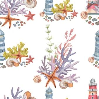 Faro conchiglie coralli stelle marine acquerello illustrazione disegnata a mano stampa tessile vintage
