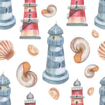 Faro conchiglie mare modello senza cuciture viaggio spiaggia illustrazione ad acquerello disegnato a mano stampa tessile