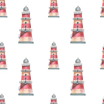 Faro conchiglie mare modello senza cuciture viaggio spiaggia acquerello illustrazione disegnata a mano