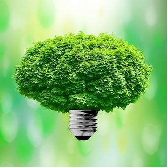 Lampada di illuminazione su sfondo verde