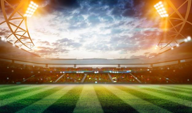 Luci di notte e stadio di calcio 3d