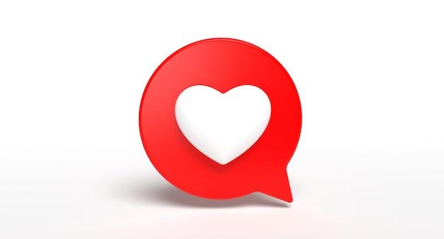 Come icona 3d di social media bolla. concetto di segno di amore di rete. rendering 3d.