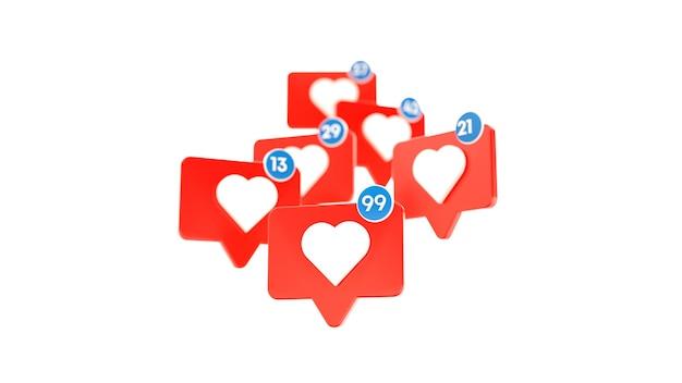 Come contro le icone di notifica dei social media con il cuore. illustrazione 3d.