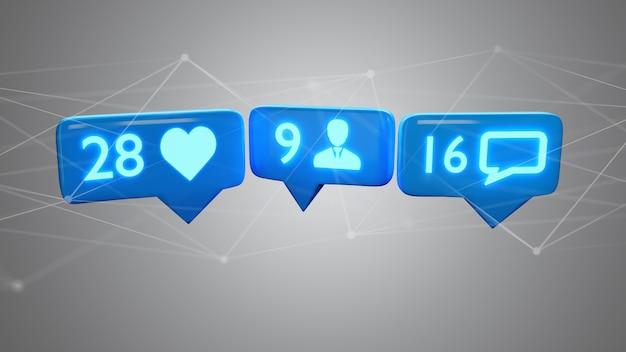 Come, seguace e messaggio di notifica sul social network, rendering 3d