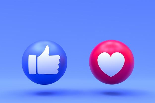 Mi piace e ama le reazioni di facebook
