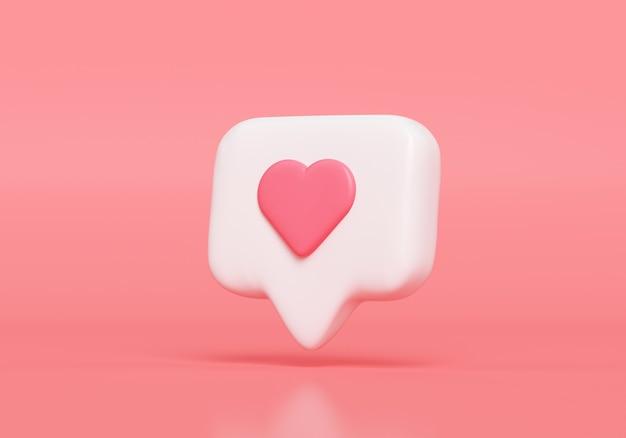 Come l'icona di notifica, l'icona di notifica dei social media con il simbolo del cuore. rendering 3d