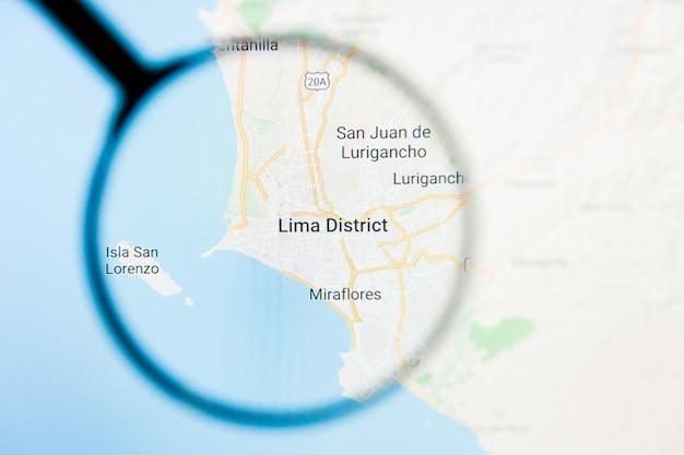 Concetto illustrativo di visualizzazione della città di lima, perù sullo schermo tramite la lente d'ingrandimento