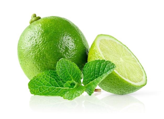 Lime e foglie di menta isolati su sfondo bianco. vista frontale