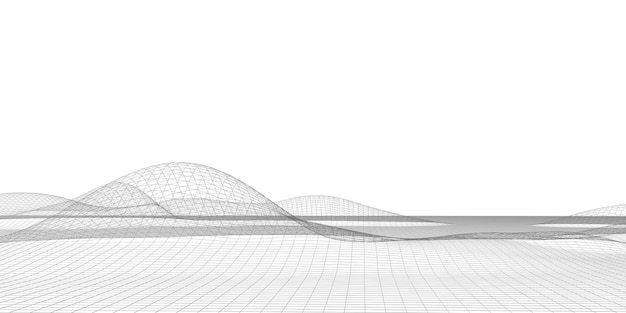 Linee struttura griglia digitale geometria futuristica cyberspazio modello di particelle lungo il percorso di taglio