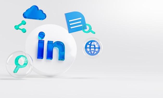 Linkedin logo in vetro acrilico e icone di ricerca copia spazio 3d