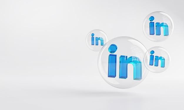 Linkedin icona acrilico all'interno bubble glass copia spazio 3d