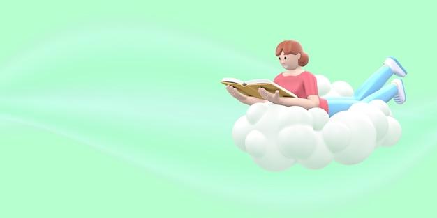 Un fan della letteratura che una ragazza nel cielo su una nuvola sta leggendo un libro. rendering 3d.