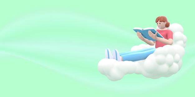 Un fan della letteratura che una ragazza nel cielo su una nuvola sta leggendo un libro.