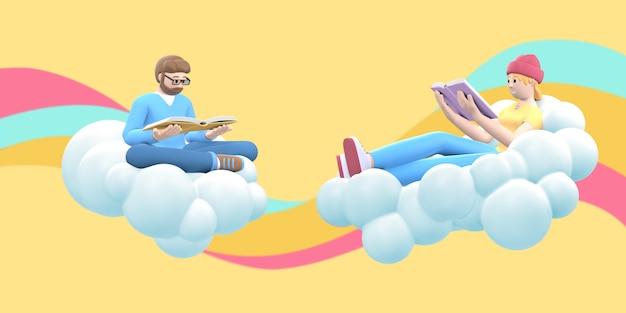 I fan della letteratura un giovane ragazzo con la barba e una ragazza hipster nel cielo su una nuvola stanno leggendo un libro.