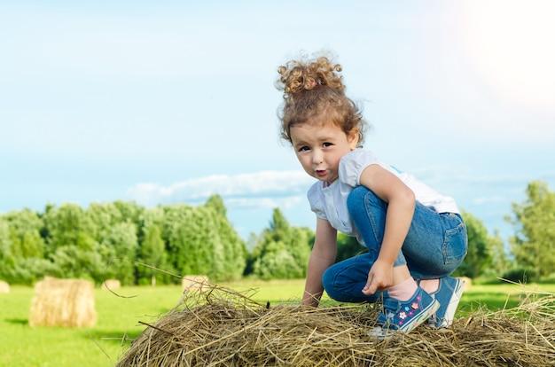 Piccola bella ragazza sul campo, su un mucchio di fieno. il bambino gioca durante la fienagione. infanzia. raccolta.