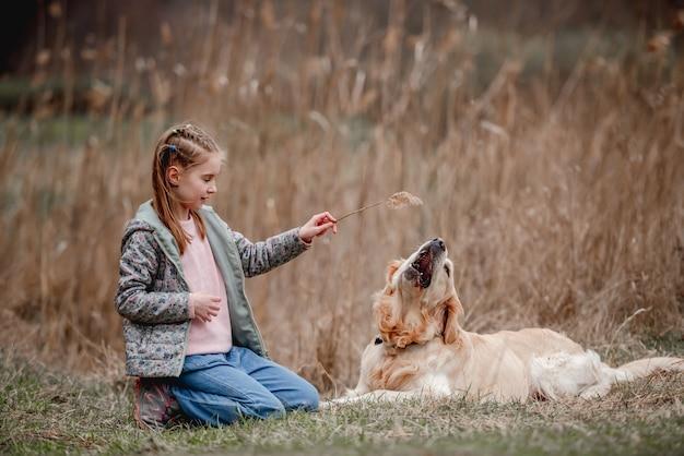 Piccola bella ragazza seduta per terra fuori e che gioca con il cane golden retriever usando la spighetta