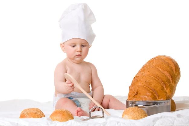 Cuoco unico del ragazzino con il cucchiaio