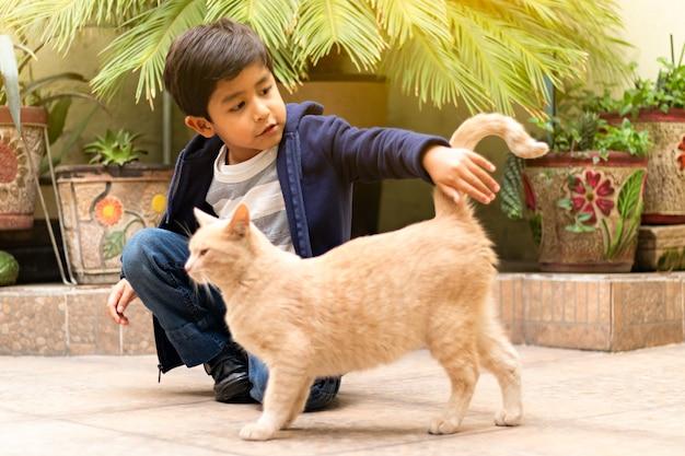 Un ragazzino che accarezza un gatto giallo nel pomeriggio nel cortile di una casa