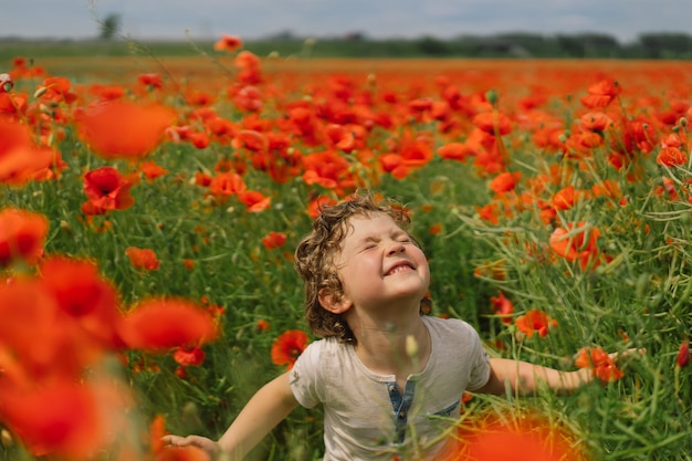 Little boy gioca in un bellissimo campo di papaveri rossi.